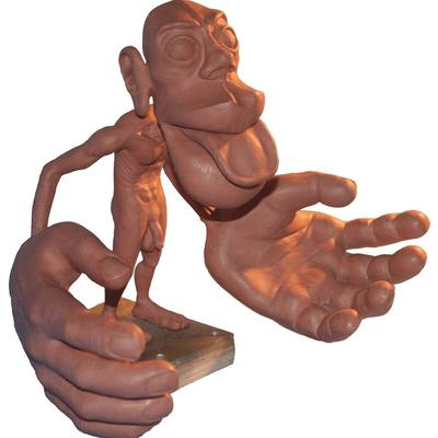Photograph of a full size clay maquette of Sensory Homunculus