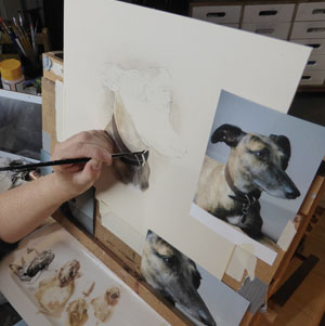 Photograph of Pet Portrait being built up, layer by layer. Sharon Price-James Pet Portraits & Pet Portraiture Sharon Working at the easel