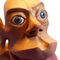 Picture of the close up of the face of a Sensory Homunculus, Showing the glazed eyes