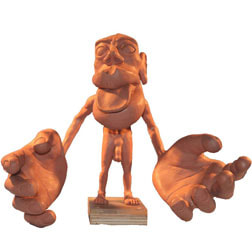 Picture of the front of a Sensory Homunculus maquette in clay